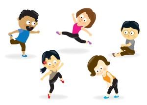 fitness cartoony people slide